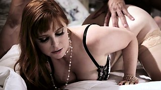 Red haired whore wife Penny Pax is impaled on a hard dick in front of her cuckold husband
