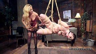 blonde mistress spanks big ass slave