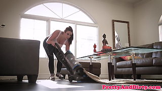 Busty maid doggystyled after cleaning