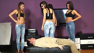 Four Girls Butt Drop On The Slave