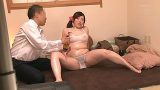 Chubby Japanese woman lets a man explore her slippery body