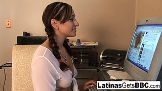 Cute Latina schoolgirl takes a study break for BBC