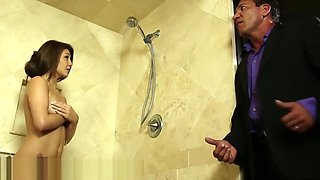Daddy joins Daughters Wet Friend in Shower