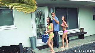 Three quite bosomy girls lure lucky man for some unforgettable foursome