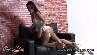 Hot brunette with great tits and ass teases pussy in sexy white panties tan stockings high heels
