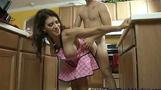 Leena Sky banging in the kitchen