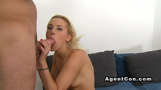 Blonde strips off and fucks in casting