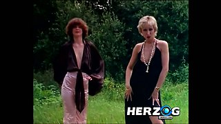 Lascivious and skinny German girls on the picnic playing with each other