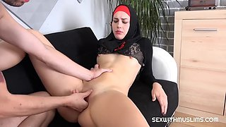 Hot girlfriend in red and black burka fucked from behind in office