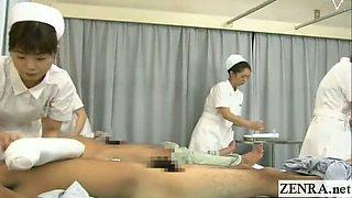 Subtitled CFNM Japanese hospital nurses group handjobs