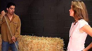 Horny cowboys seduce Payton Leigh in a warehouse