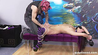 Violet Sky ball gagged, tied up and abused with toys