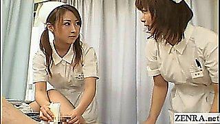 Subtitled CFNM Japanese hospital nurses handjob cumshot