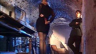 Sensational blonde milf deepthroats a meaty dick on her knees