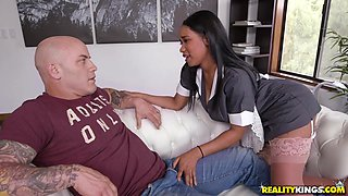 busty ebony maid seduces customer
