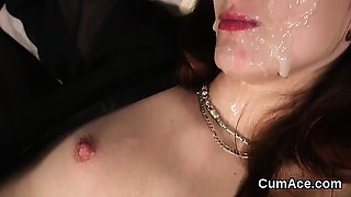 Frisky honey gets sperm shot on her face gulping all the jui