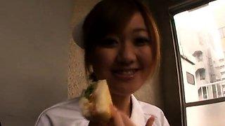Buxom Japanese nurse can't wait to enjoy a throbbing cock