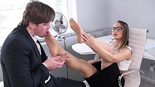 Smooth office footjob tryout for Naomi Bennet