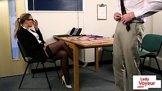 Office femdom humiliates guy while giving JOI