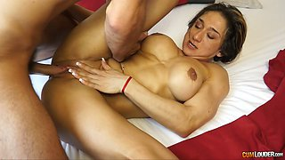 Wondrous short haired nympho gets brutally banged mish and gives head