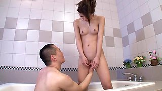 Riri Fuji in Shy Riri Gives Bathtub Blowjob - JapansTiniest