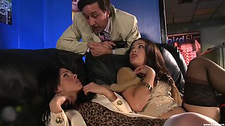 Jennifer Dark and Kristina Rose have fun with a rock-solid cock