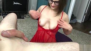 Girlfriend in Glasses and Lingerie Sucks Dick for Tit Cumshot - AvaAlex