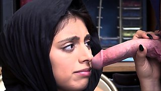 Cute shoplifter chick in hijab gets punish fucked hard