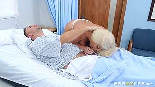 Buxom platinum blonde nurse Julie Cash gets cum in mouth at the office