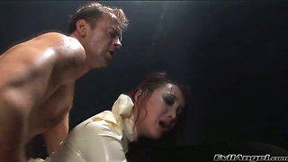 Well endowed stud Rocco fucks deep throat of one latex chick