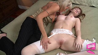 Beautiful bride Faye Reagan is seduced by a lesbian milf