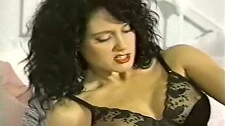 Spectacular brunette in black lingerie receives cunnilingus