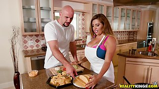 Busty babe Alessandra Miller fucked hard in a kitchen by a horny man