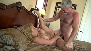 Dissolute blonde mature Karen Summer fucks grandpa Jay Crew
