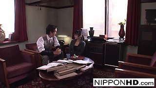 Japanese Secretary Blows Her Boss In The Office - NipponHD