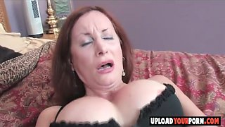 Horny MILF in sexy lingerie toying her cunt to orgasm