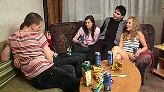Dirty Russian slut fucks all the boys on the party