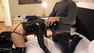Latex belle - anal plugged  slapped  mouthfucked and cumshot