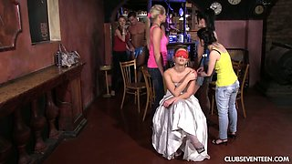Young chick with yummy booty Jeanine B takes part in crazy group sex