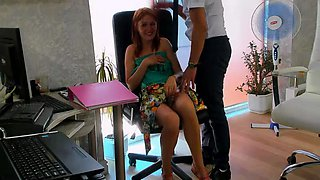 Amateur camgirl teases the boss at the office on webcam