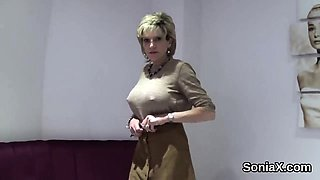 Adulterous english mature lady sonia displays her big jugs