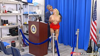 Presidential debate ends up with the blonde getting a hard drilling
