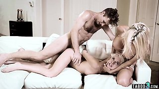 Teen talked into fuck with busty stepmom and stepson