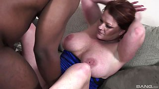 Black guy gets his monster cock satisfied by mature Kate Fawcett