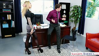 Slutty tattooed secretary Karma Rx guzzles a dick and gets fucked in the office