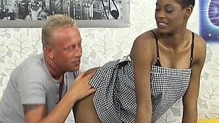 African babysitter in XXX threesome