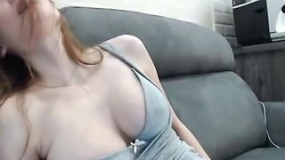 Beautiful multiorgasmic girl with perfect natural boobs
