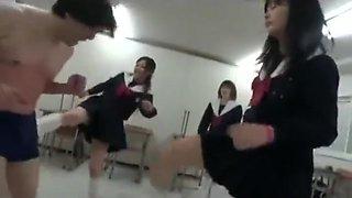 Japanese school girl ballbusting3