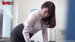 Busty brunette Mishima Natsuko has a lusty partner playing with her