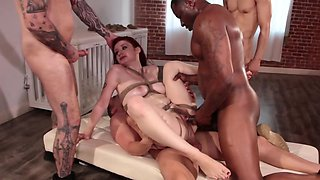 Black guys put pretty girl to work in interracial gangbang video